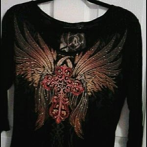 Angels & Diamonds black top with angel win…